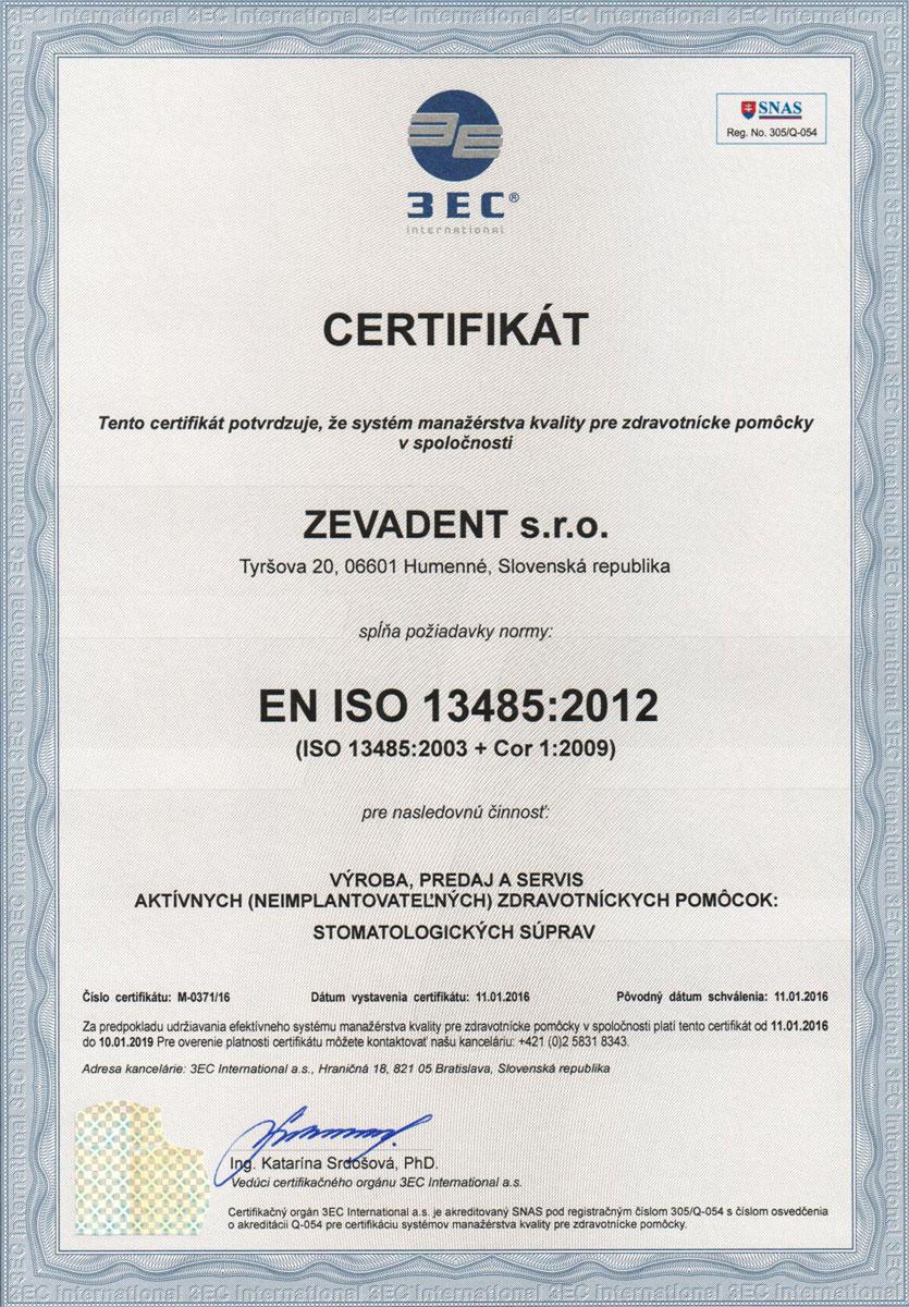 Certifikát EN ISO Zevadent