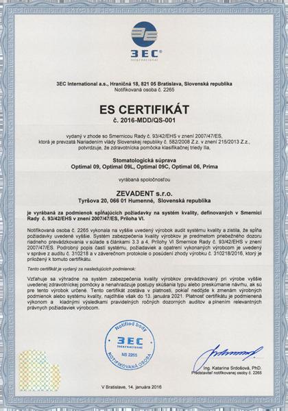 Certifikát ES Zevadent